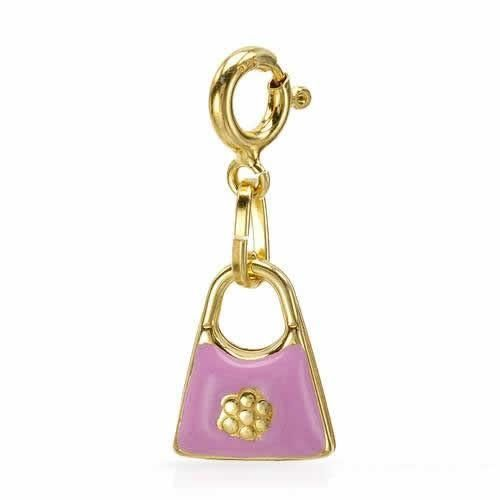 Charm Made In Pink Enamel   Superb charm well made in pink enamel and 14K / 925 gold plated silver. Total item weight 1.3g. Length 1 inch.