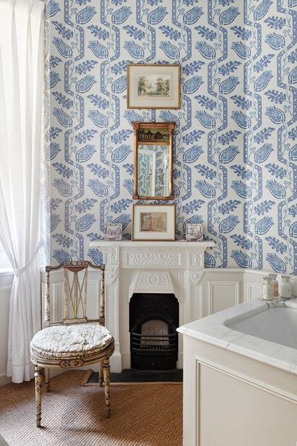 Blue & White Bathroom with Wallpaper - bathroom design on HOUSE by House & Garden. Ideas for bathrooms - small and large cabinets, tiles, mirrors & storage
