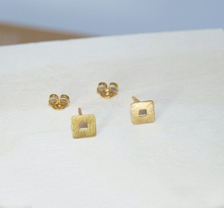 stud earrings,square perforated earrings,sterling silver 925,gold-plated earrings,black patina,rose gold,silver earrings,gold earrings by Fragkiski on Etsy