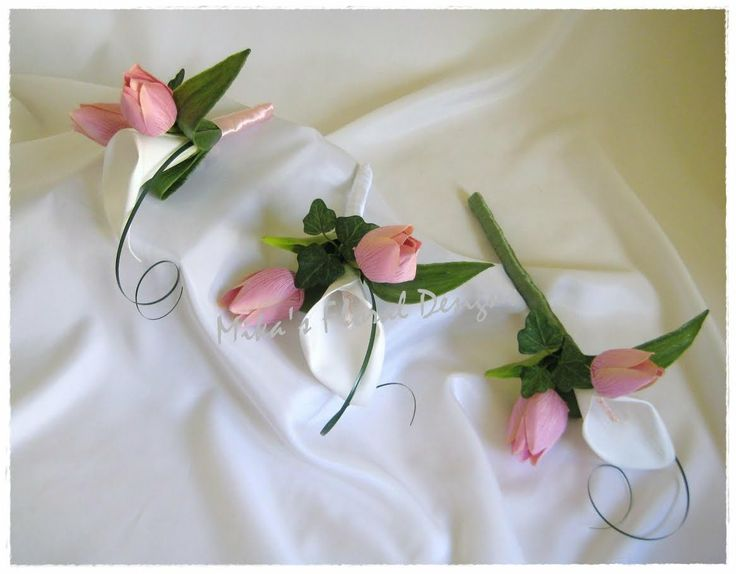 Artificial Wedding Flowers and Bouquets - Australia: Cake Topper Set of Calla Lily and Tulip