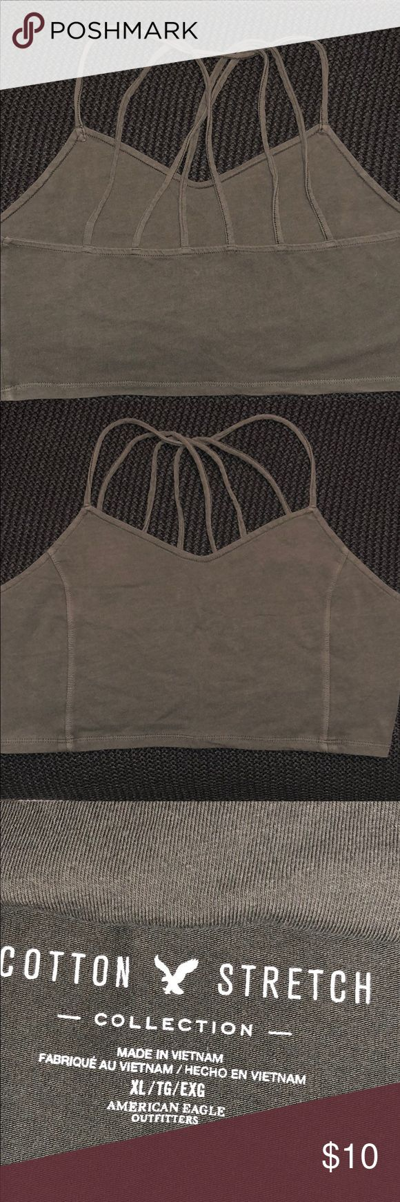 AEO Cotton Army Green Strappy Crop Top Army Green Strappy Back Crop Top in Size XL Soft Cotton.  Super cute just too big for my chest. American Eagle Outfitters Tops Crop Tops