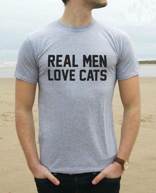 Hombre de verdad aman gatos imprimir hombres camiseta Casual moda camisa divertida para hombre gris blanco negro Top camiseta inconformista calle roca ZT203-81