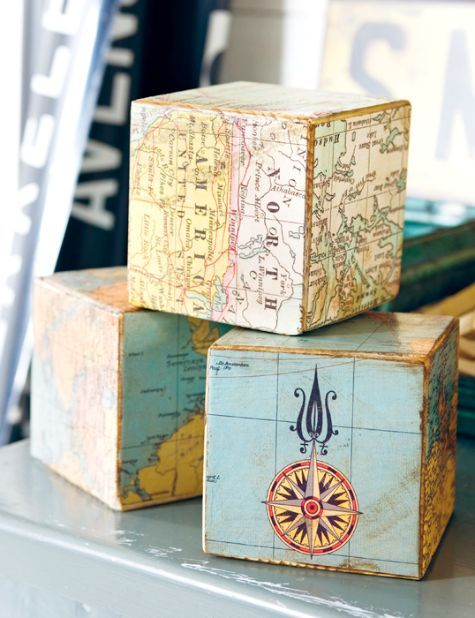 Decoupage building blocks with nautical maps... then add them to a shelf... or mantel! Featured on CC: http://www.completely-coastal.com/2015/07/nautical-map-decor-ideas-by-anna-ornberg.html