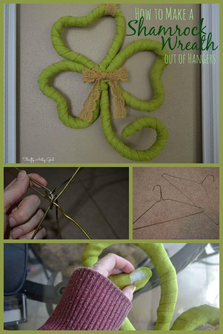 DIY Shamrock wreath from good old hangers ~ perfect for St. Patrick's Day