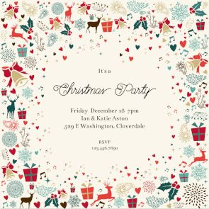 Signs Of The Season   Free Christmas Invitation Template | Greetings Island  Free Christmas Party Templates Invitations