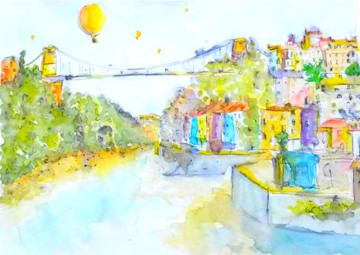 Clifton Suspension Bridge Bristol I. Watercolour on 140 gram paper. 420 mm 594 mm. Original.
