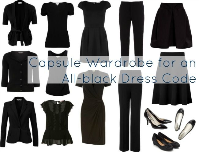 #black #capsule #wardrobe - love the focus on interesting shapes yet a solid uniform appearance. And a reminder that it is possible to pair black with black.