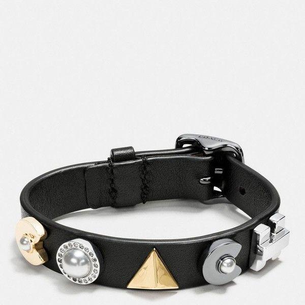 Coach Deco Leather Bracelet (3.064.365 VND) ❤ liked on Polyvore featuring jewelry, bracelets, coach jewelry, art deco jewellery, swarovski crystal bangle, abstract jewelry and swarovski crystal jewelry