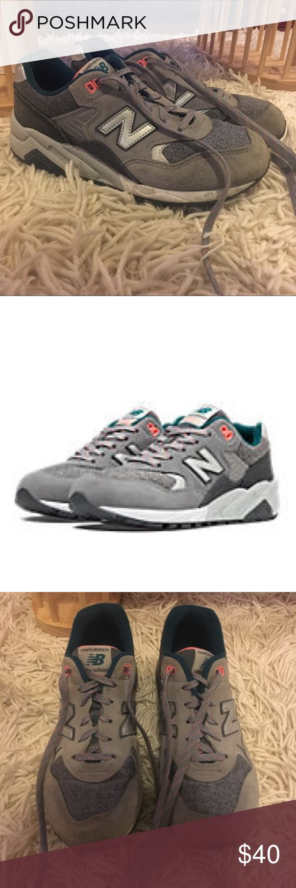 Women's 580 New Balance- Steel Grey w Pink & Teal Discontinued color! They're in awesome condition and were pretty minimally worn. Feel free to ask any questions. Make me an offer, but I will have to pay extra for shipping so be mindful of that as you come up with a price. New Balance Shoes Athletic Shoes