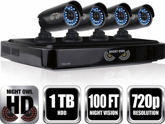 Night Owl - 8-Channel, 4-Camera Indoor/Outdoor High-Definition DVR Security System - Black - Angle Zoom
