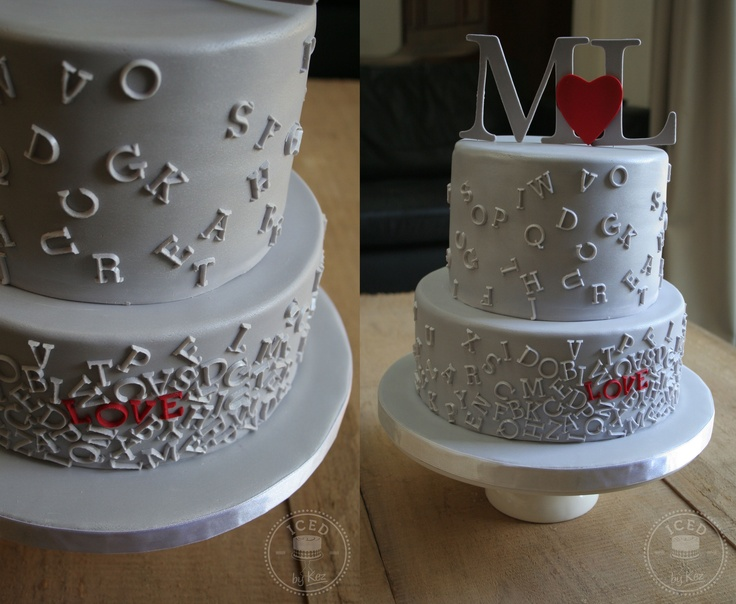 Louise & Matt's Wedding Cake, inspired by Eat.Cake.Be.Merry's 'LOVE' cake.  Cake in Silver to match Louise's dress x