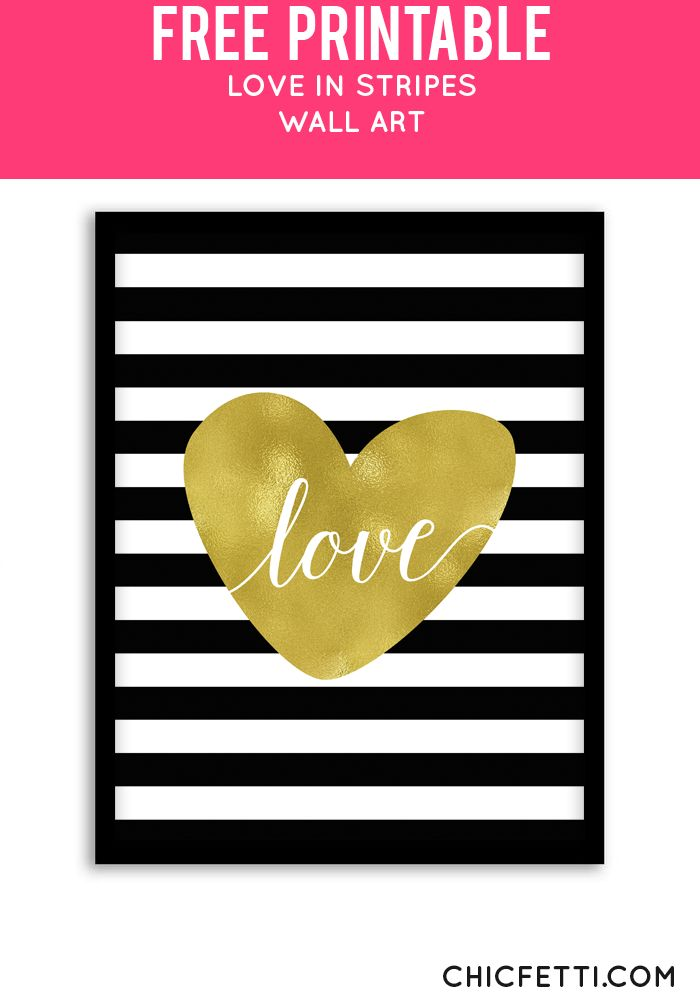 Free Printable Love in Stripes Art from @chicfetti - easy wall art diy