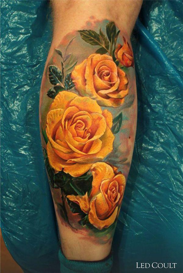 yellow roses tattoo on leg - 40 Eye-catching Rose Tattoos  <3 <3