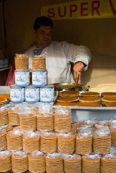 STROOPWAFELS (Amsterdam) - What it is: Warm, gooey caramel sandwiched between two layers of crispy baked batter. Where to get it: Street carts throughout Amsterdam sell this yummy Dutch waffle.