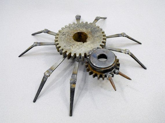 Rustic Welded Metal Spider Folk Art by OurUniquePerspective