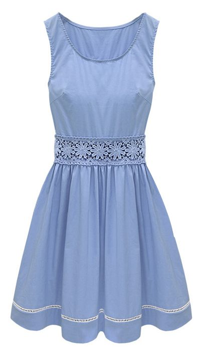 Cornflower blue crochet lace dress. A touch of vintage, which I love!