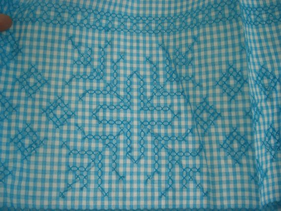 Turquoise blue gingham apron by ElRitmoRetro on Etsy