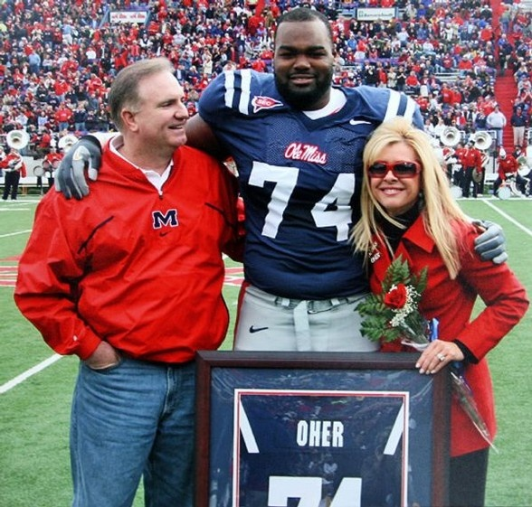 "Sean and Leigh Anne Tuohy and their adopted son, Ole Miss lineman Michael Oher, are the focus of the movie ""The Blind Side,"" starring Sandra Bullock."