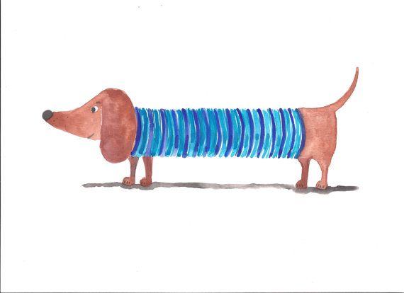 Dachshund Print, Nursery Print, Dog Print, Sausage Dog Art, Kid's Art, Children's Print, Wiener Dog, Dog with a sweater, Illustration Print
