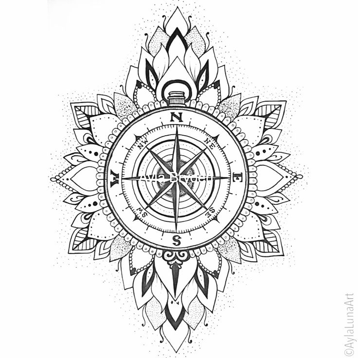 Hand drawn compass mandala design by Ayla Bryden                                                                                                                                                     More