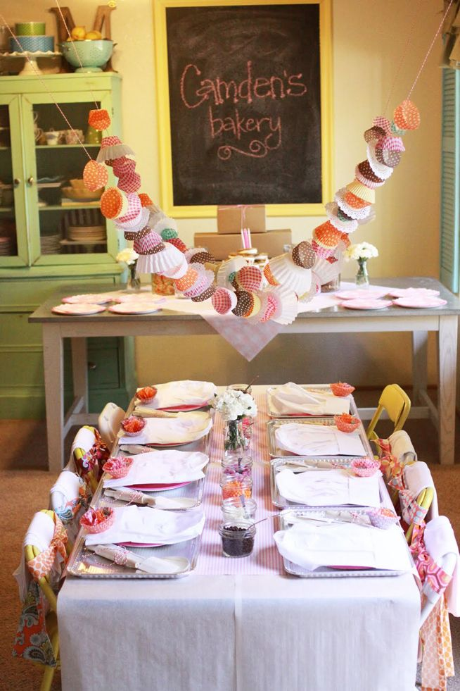 Little girl bakery party. Such a cute idea. Love the cupcake wrapper garland.