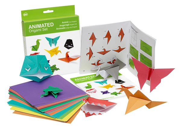 Barbican Shop Animated Origami Set: This set contains 100 sheets of brightly coloured origami paper and a full-colour 24 page book with detailed folding instructions for 10 models. Designs include birds with flapping wings, frogs that hop, teeth that chatter, a fluttering butterfly and a sycamore seed that spins through the air.