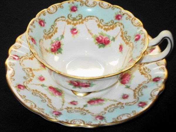 Royal Doulton Antique Pink Roses Blue Curvy TEA CUP AND Saucer