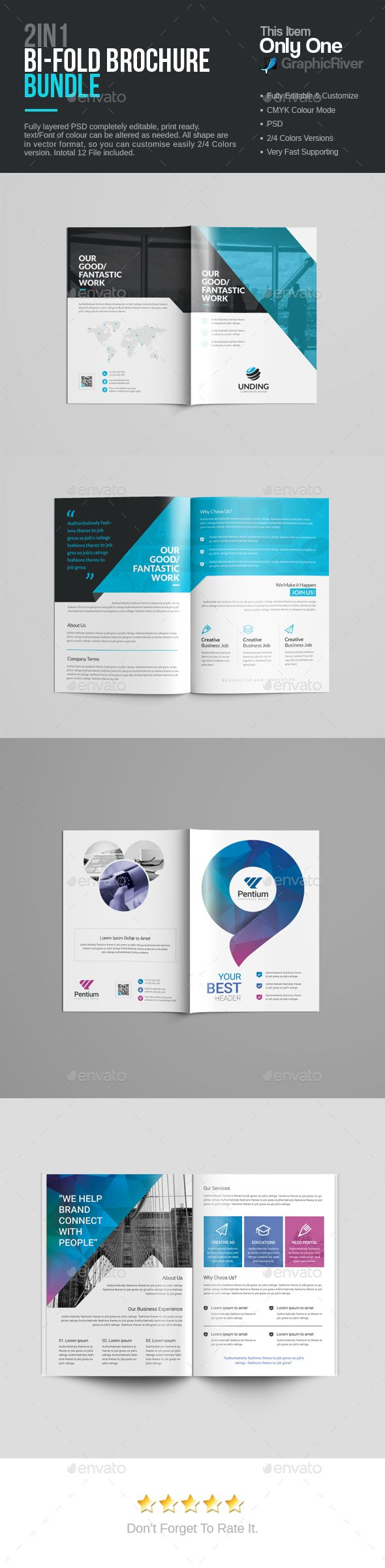 Bi-Fold Brochure Template PSD Bundle