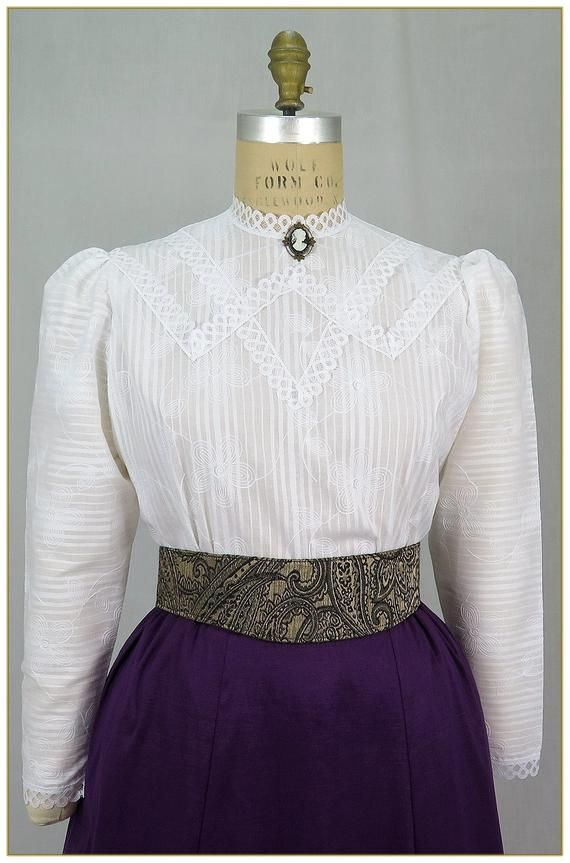Ca 1900/'s Victorian Cotton Blouse and Skirt