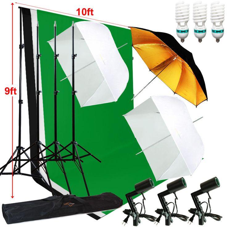 Photography Studio Lighting 10ft Backdrop Stand Muslin Set Photo Light Kit