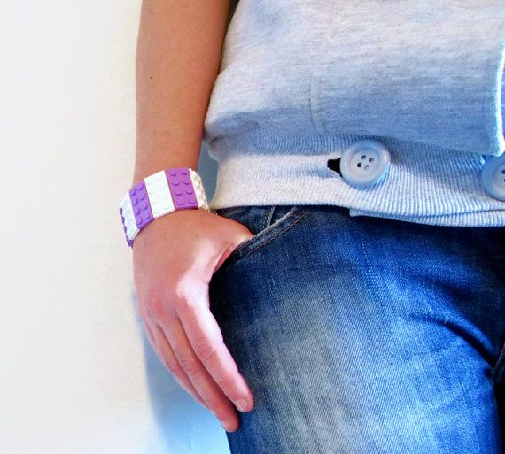 Bracelet made with LEGO® Bricks, Girls Gift  Bangle, Geeks Bracelet, Elastic Bracelet, Cuff Bracelet, White Medium Lavender 2x4 plate, Geeky