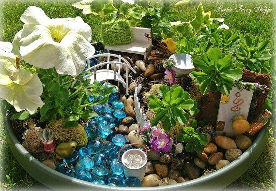 New Pic of the Cottage Chic Fairy Garden Kit Fairy Garden MIniatures by PurpleFairyShoppe, $54.99