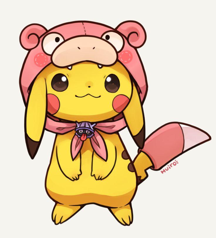 Pikachu in a Slowpoke costume. #Pokemon #Pikachu #fanart