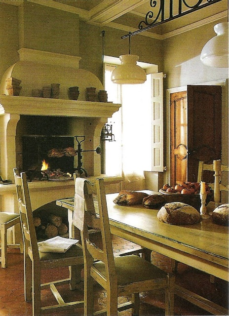 I like the idea of a fireplace in the kitchen or living room and the elevated fireplace, with wood stored underneath. .