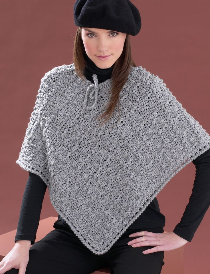 Perfect Patterned Poncho | Yarn | Free Crochet Patterns | Yarnspirations