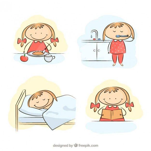 Petite fille dans sa routine matinale Vecteur gratuit