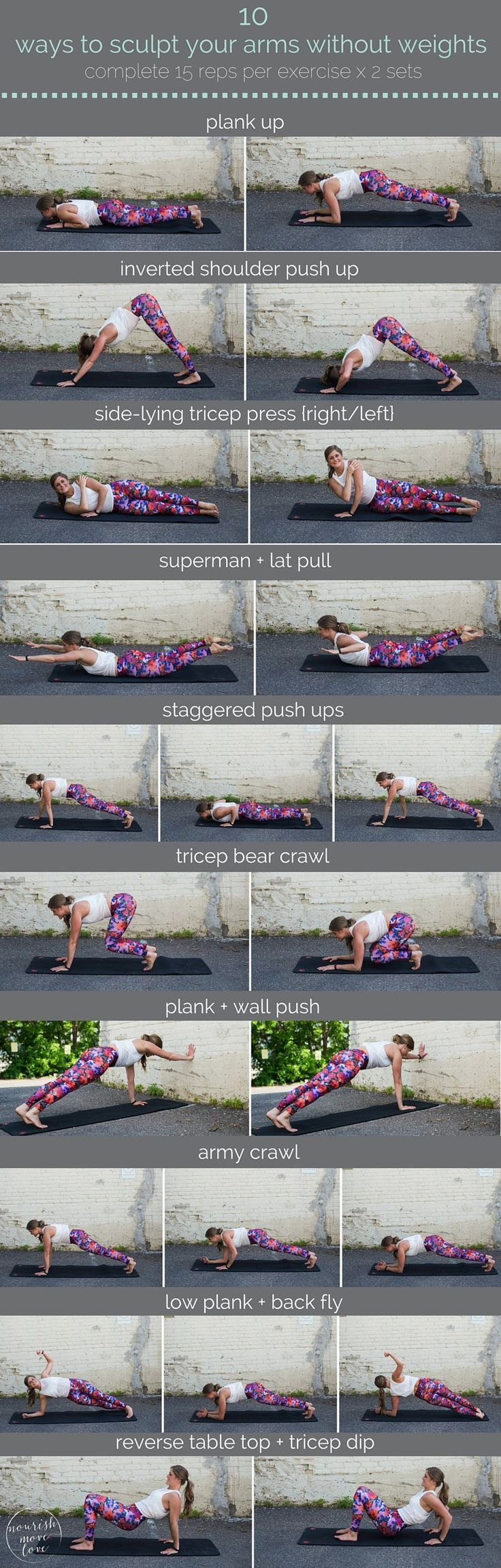 10 ways to sculpt your arms without weights | sculpt seriously strong arms with these 10 equipment-free, upper body exercises you can do anywhere. | http://www.nourishmovelove.com