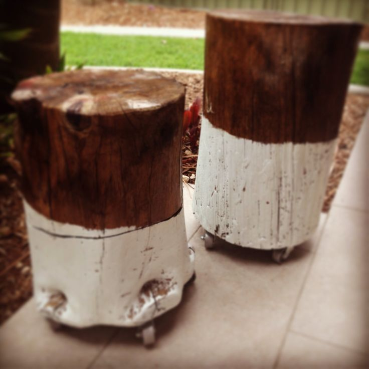Dip dyed recycled tree stumps..