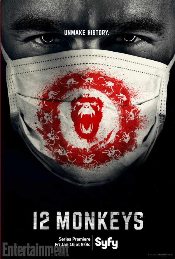 12 MONKEYS - Follows the journey of a time traveler from the post-apocalyptic future who appears in present day on a mission to locate and eradicate the source of a deadly plague that will eventually decimate the human race.