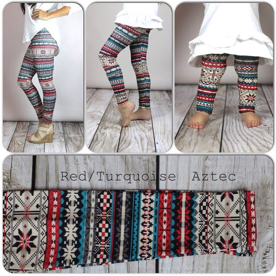Red/Turquoise Aztec Print Leggings by TheRitzBoutique