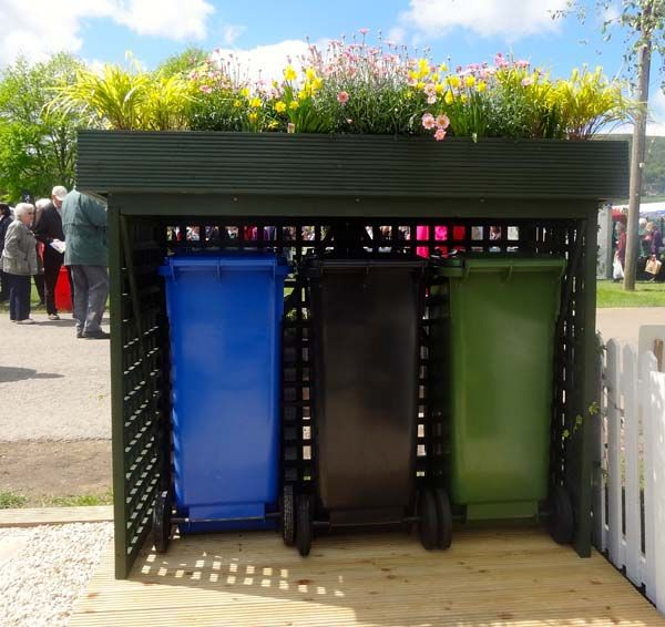 Hide your wheelie bin storage for 3 small bins www.kannysolutionsltd.co.uk