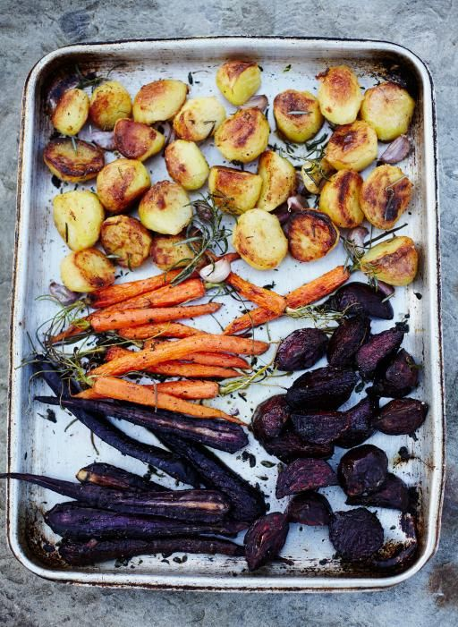 Amazing Jamie Oliver roast veg. His roast recipes are always so on point!