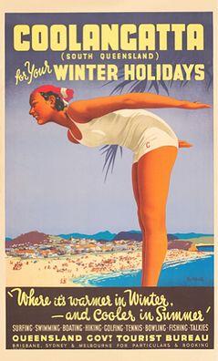 Vintage Poster Travel ad: Coolancatta, S Queensland, Australia