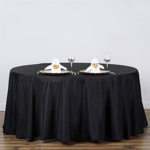 """120"""" BLACK Wholesale Polyester Round Tablecloth For Wedding Banquet Restaurant"""