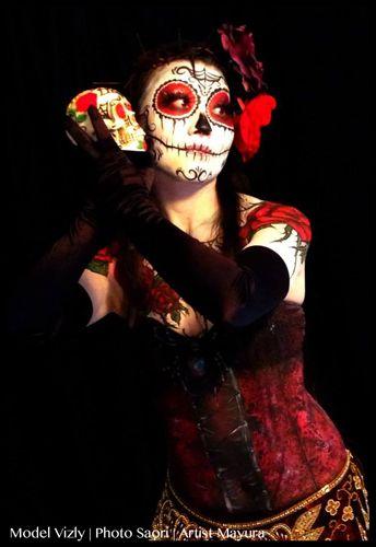 メキシカンなドレスに合わせて☆メキシカンなシュガースカルメイク♬