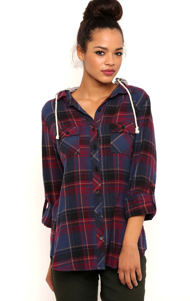 Deb Shops Long Sleeve Flannel Top with French Terry Hood $18.20