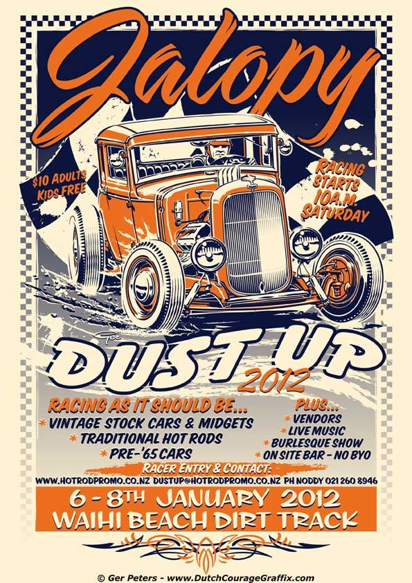 Jalopy Dust Up 2012 Poster artwork. Waihi Beach Dirt Track Club - New Zealand #hotrod #hot #rod #jalopy #dustup #event #promo #poster #artwork