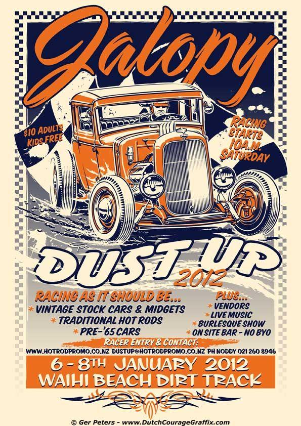 Jalopy Dust Up 2012 Poster artwork. Waihi Beach Dirt Track Club - New Zealand #hotrod #hot #rod #jalopy #dustup #event #promo #poster #artwork