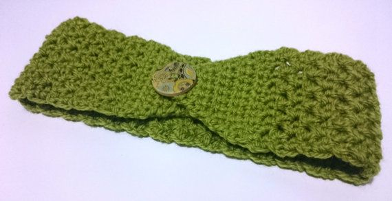 Olive Green Wool Headband Olive Green hairband by ThistleDubhEwe