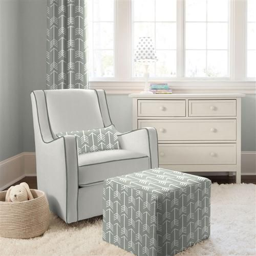 Gray and Slate Modern Glider with Gray Arrow Pillow